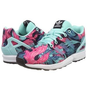 10d8ed9e1258 adidas ZX Flux J Birds of Paradise Trainers